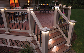Custom deck with outdoor lighting by The Decksperts | West Springfield, MA